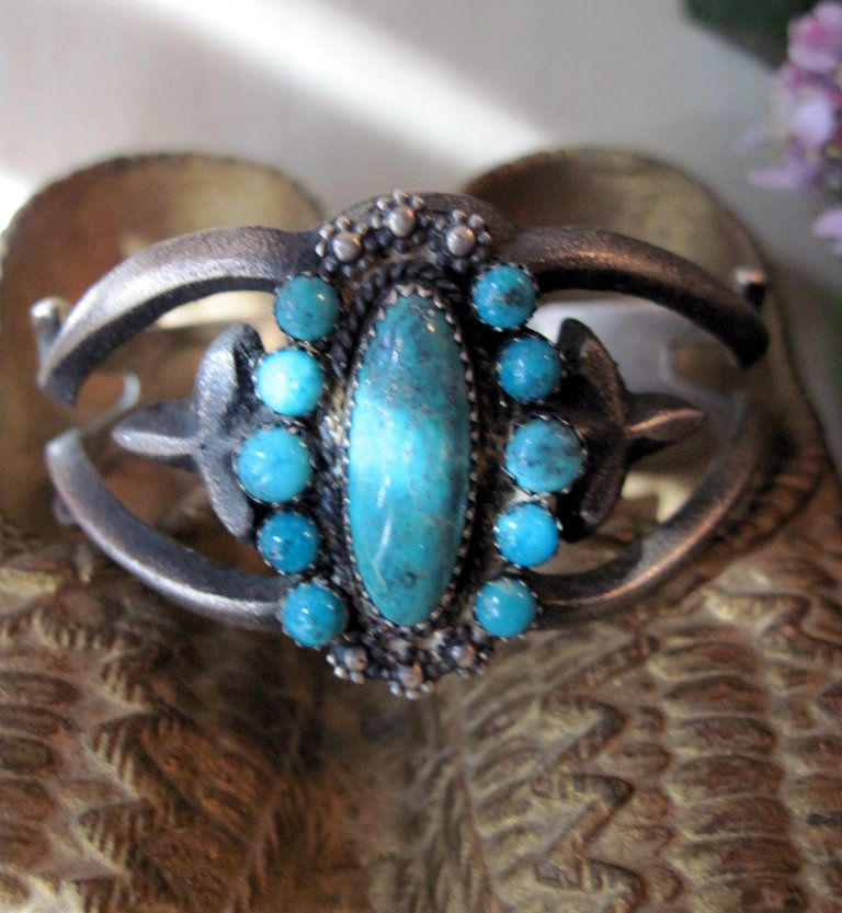 Vintage Native American Dead Pawn SIGNED Silver and Turquoise Bracelet