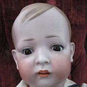 HUGE Antique German Tommy Tucker Bisque Boy Character Doll