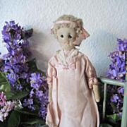 Antique 1900s Americana Folk Art Cloth Doll