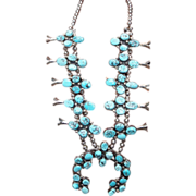 Spectacular Vintage Native American Indian Dead Pawn Natural Turquoise Squash Blossom Necklace