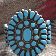 Splendid Vintage 1940s Native American Turquoise and Sterling Cluster Cuff Bracelet