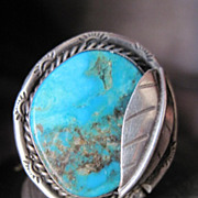 Gorgeous Dead Pawn Native American Turquoise and Sterling Silver Ring