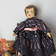 Vintage Original Presbyterian Hand Painted American Folk Art Rag Cloth Doll