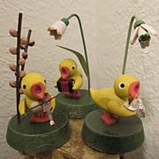 Antique German Erzgebirge Trio of Wooden Chicks