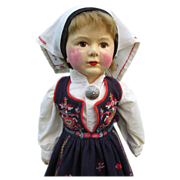 Uncommon Vintage Large Cloth Ronnaug Petterssen Girl Doll Brown Eyes