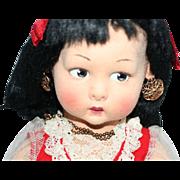 Vintage 1930s - 1940s Large Lenci Sicilia Felt Young Lady Doll