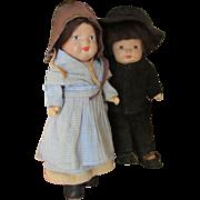 Vintage American Composition Marie Pollack Mennonite Dolls