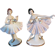 Exquisite Miniature Dresden China Ballerina Pair