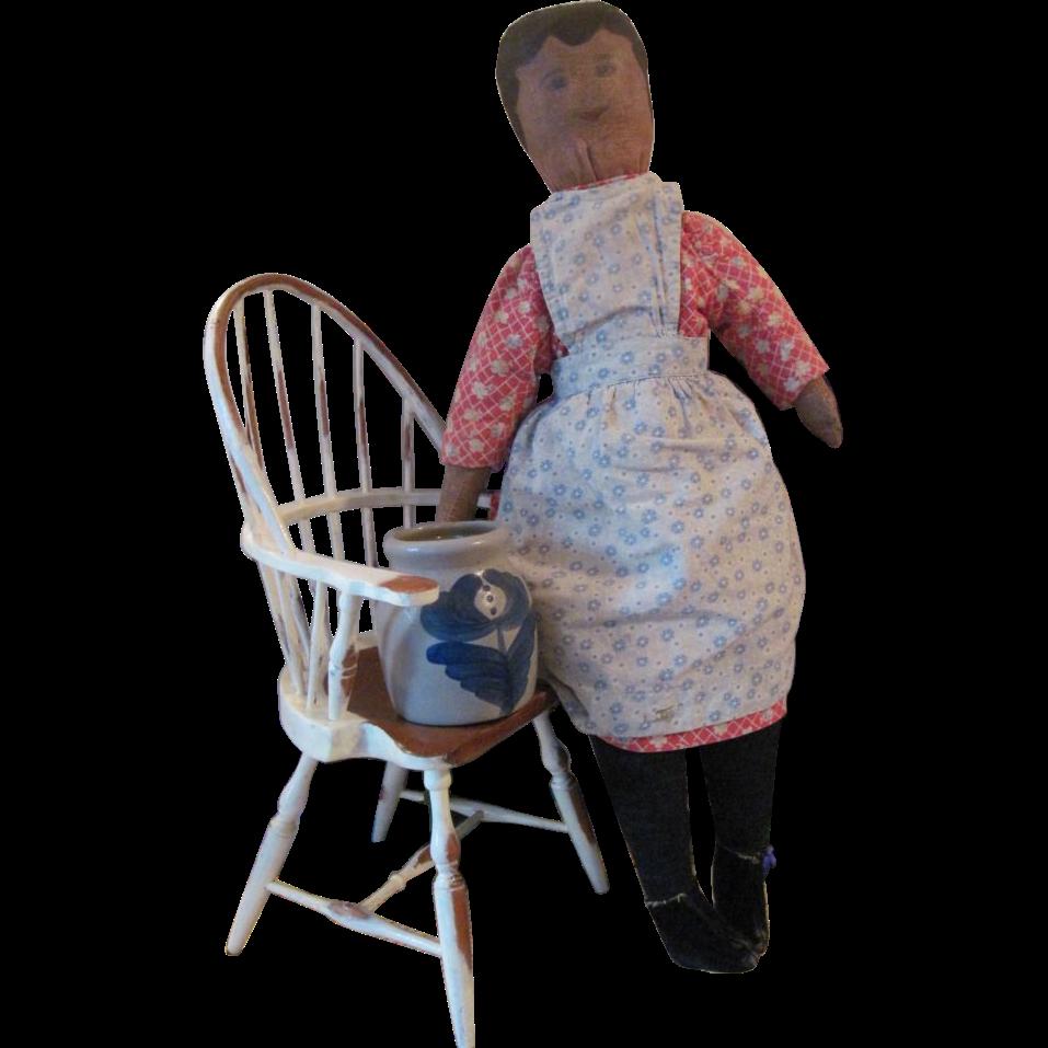 Antique Americana Folk Art Oil Painted Face Cloth Girl doll