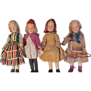 Rare Museum Quality Early Set of 4 Hedwig - deAngeli Dolls with Corresponding Books