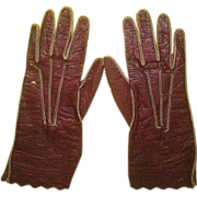 Antique French Perrin Kid Leather Doll Gloves for French Fashion Doll