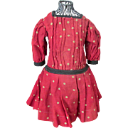 Antique Red Polka Dot Doll Dress Suitable for Schoenhut or Other Antique Bebe Doll