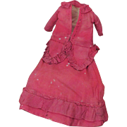 Antique Small 2 Piece Red Doll Dress Suitable for French Fashion, Wax, Papier Mache, Bisque Doll