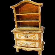 Spectacular Vintage Florentine Stepback Cupboard for Antique French Fashion Doll