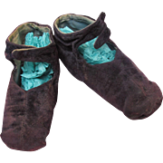 Antique Mid-19th C. Civil War Era Doll or Baby Hand Sewn Dark Blue Square Toe Velvet Slippers for an Antique Papier Mache, Cloth, Wax Head or French Fashion Doll.