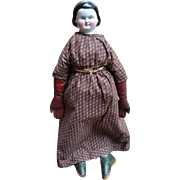Antique Huge Pre-Civil War China Head Doll Alice with Snood, Brushstrokes, Diadem
