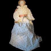 Large Antique Uncommon Brown Cafe au Lait Hair Lady Doll Civil War Era