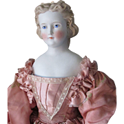 Exquisite Large Antique Parian Doll with Molded Pearls in Fancy Cafe au Lait Hairdo