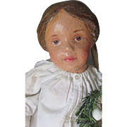 Adorable Antique Carved Hair Schoenhut Girl 102 with Repainted Face and Hair