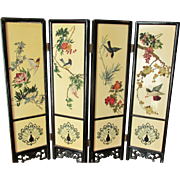 Chinoiserie 4 Panel Miniature Table Screen with 2 Sided Design Elements Chinese
