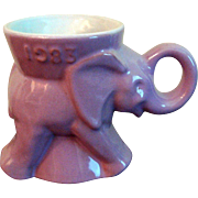 FLASH FIRE SALE 1983 Frankoma GOP Republican Lavender Elephant Mug Political Collectible