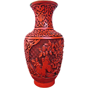 Asian Hand Carved Cinnabar over Brass Strikingly Beautiful Vase