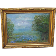 Vintage Small Signed Texas Hill Country Blue Bonnet Oil Painting Perfect to Pose with a Pampered Doll