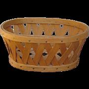 Miniature Signed Splint Maple Wood Longaberger American Folk Art Basket suitable for posing with Dolls