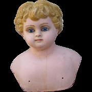 Huge Angelic Antique Papier Mache Shoulder Head with Gorgeous Original Blue Paper Weight Eyes