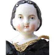 Scarce Antique Early Small China Head Doll with Exposed Ears So-Called Greiner Type TLC