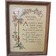 Small Antique Edwardian Hand Tinted Poetry Motto Framed Print for Mother suitable to Display with Antique Dolls