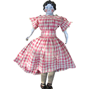 Fabulous Large Antique Dolly Madison China Head Doll with Original Body and Original Antique Clothing