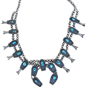 Vintage 1940 -1950s Museum Quality Statement Piece Native American Squash Blossom Necklace : Turquoise and Silver