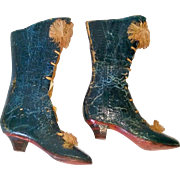 Diminutive Antique Leather French Fashion Doll Boots