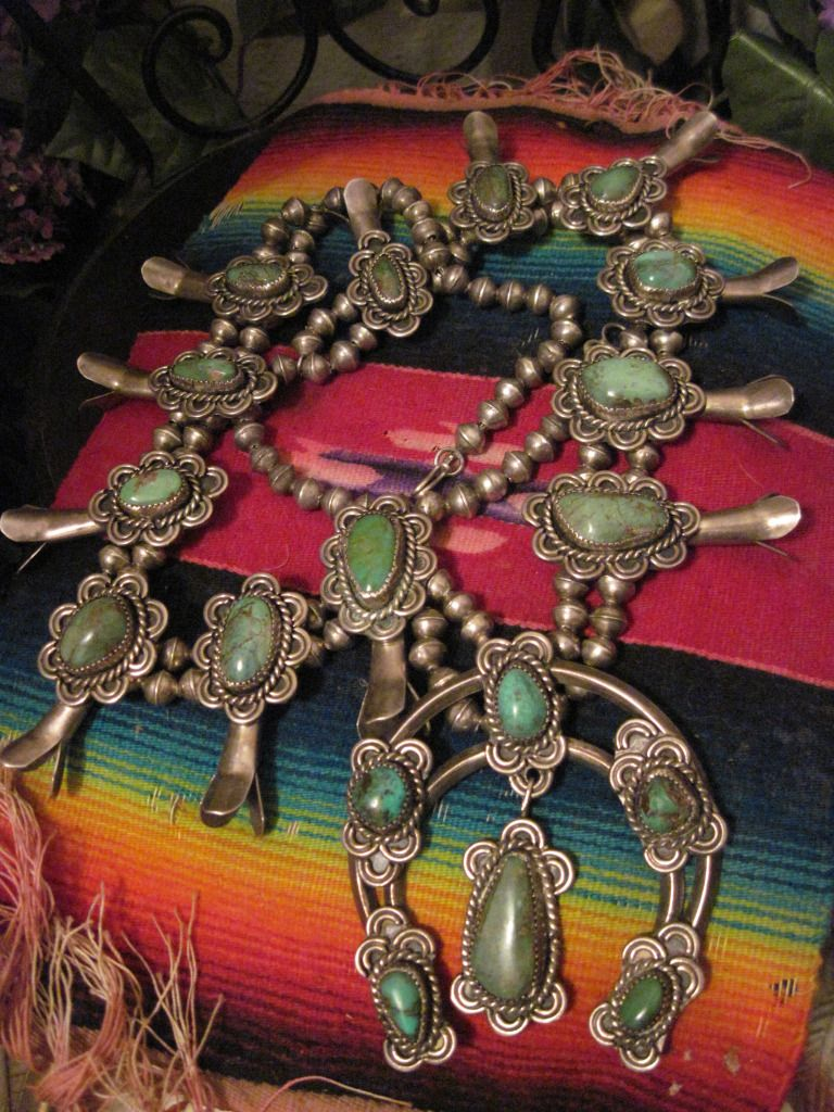Substantial Vintage Native American Pawn Silver and Turquoise Squash Blossom Necklace with Naja