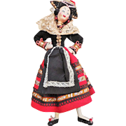 Mid Century Klumpe Spanish Provincial Character Lady Doll with Wonderfully Detailed Costume in Felts and Beads