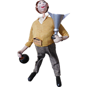 Mid Century Klumpe Roldan Bowling Champion Character Doll with Trophy Cup and Bowling Ball