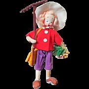 Mid - Century KLUMPE GARDENING GIRL Doll with original Rake, Hat, Flowers and Bag