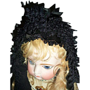 Museum Quality Antique Mid-19th C French Black Lace Mourning Bonnet suitable for French Fashion or Other Doll
