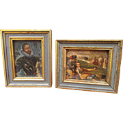 Miniature Vintage Hollywood Regency Gilded Wooden Framed Decoupage Print Pair Perfect for Vignette and French Fashion Dolls