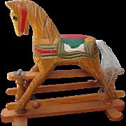 Vintage Miniature Hand Carved Wooden Shoofly Rocking Horse Glider for Dolls