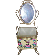 Antique French Handpainted Porcelain Presentation du Mariee' Cache with Attached Cheval Beveled Mirror for French Fashion Doll