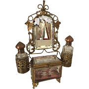 Rare Antique French Ormolu Bevelled Glass Bride's Boudoir Presentation Vitrine Casket perfect for French Fashion Doll Etched with Doves