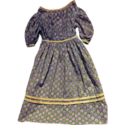 Vintage Well Made Green Cotton Calico Dress suitable for Antique Wax, Papier Mache or China Head Doll