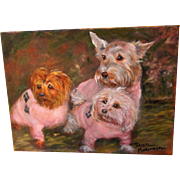 Trio of Pups in Pink Argyle Sweaters Signed Painting by Jean Makinson