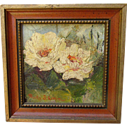Fabulous Signed Miniature Texas Floral Motif Oil Painting Mid 20th C