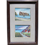 Small Pair of 1980s Raymond Quirion Oil Paintings of the Gaspe Penisnsula and Rocher Perce, Quebec Canada