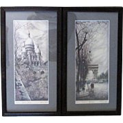 Mid-Century Pair of Hand Pulled * Hand Tinted Signed Lithographs of Parisian Scenes by Alfau Ortiz : Champs Elysee * Sacre Couer