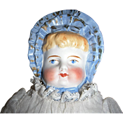 Antique German Parian Molded Blue Bonnet Head Doll