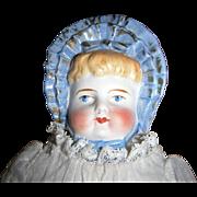 Antique German Parian Molded Blue Bonnet Head Doll